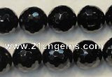CTO111 15.5 inches 14mm faceted round natural black tourmaline beads