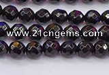 CTO135 15.5 inches 4mm faceted round black tourmaline beads