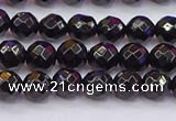 CTO136 15.5 inches 6mm faceted round black tourmaline beads