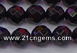 CTO138 15.5 inches 10mm faceted round black tourmaline beads