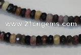 CTO34 15.5 inches 4*6mm faceted rondelle natural tourmaline beads