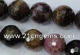 CTO466 15.5 inches 11mm faceted round natural tourmaline gemstone beads