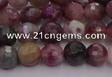 CTO635 15.5 inches 6mm faceted round tourmaline gemstone beads