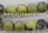 CTP104 15.5 inches 12mm round yellow pine turquoise beads wholesale
