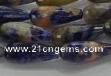 CTR111 15.5 inches 8*20mm faceted teardrop orange sodalite beads
