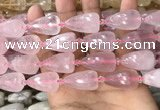 CTR350 15.5 inches 15*25mm faceted teardrop rose quartz beads