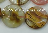 CTS50 15.5 inches 25mm flat round tigerskin glass beads wholesale