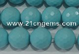 CTU1224 15.5 inches 12mm faceted round synthetic turquoise beads