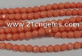CTU1321 15.5 inches 4mm faceted round synthetic turquoise beads