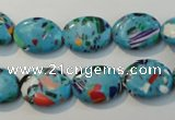CTU2020 15.5 inches 12*16mm oval synthetic turquoise beads