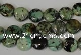 CTU2474 15.5 inches 10mm flat round African turquoise beads wholesale
