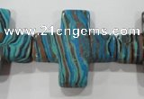 CTU2719 15.5 inches 30*30mm cross synthetic turquoise beads