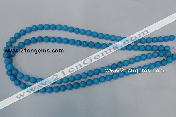 CTU823 15.5 inches 8mm round dyed turquoise beads wholesale