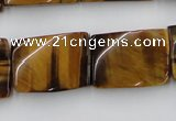 CTW394 15.5 inches 18*25mm twisted rectangle yellow tiger eye beads