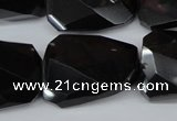 CTW415 15.5 inches 20*30mm faceted & twisted black agate gemstone beads