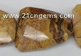 CTW425 15.5 inches 32*42mm faceted & twisted picture jasper beads