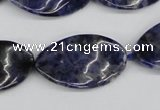 CTW97 15.5 inches 18*30mm twisted oval sodalite gemstone beads