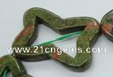 CUG79 15.5 inches 30*40mm carved flower unakite gemstone beads