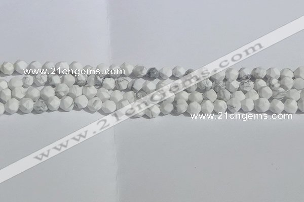 CWB244 15.5 inches 6mm faceted nuggets matte white howlite beads