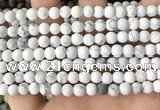 CWB251 15.5 inches 6mm round matte white howlite beads wholesale