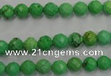 CWB391 15.5 inches 6mm faceted round howlite turquoise beads