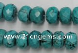 CWB448 15.5 inches 8*12mm faceted rondelle howlite turquoise beads