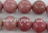 CWF18 15.5 inches 18mm round pink wooden fossil jasper beads wholesale