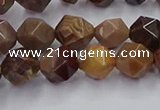 CWJ491 15.5 inches 8mm faceted nuggets wood jasper beads