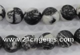 CZJ206 15.5 inches 14mm round black & white zebra jasper beads