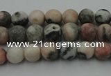 CZJ560 15.5 inches 4mm round matte pink zebra jasper beads