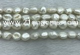FWP350 15 inches 7mm - 8mm baroque white freshwater pearl strands