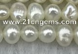 FWP40 15 inches 4mm - 5mm potato white freshwater pearl strands