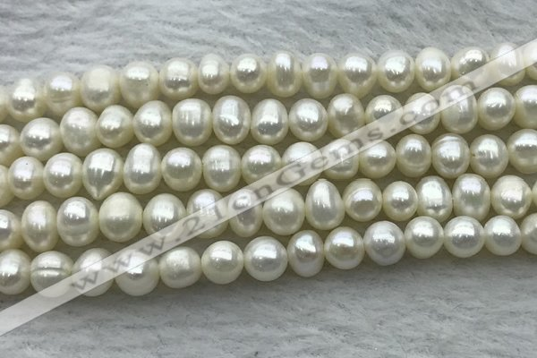 FWP44 14.5 inches 5mm - 5.5mm potato white freshwater pearl strands