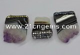 NGC1723 30*45mm - 35*55mm freeform druzy amethyst connectors
