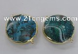 NGC299 35mm flat round agate gemstone connectors wholesale
