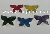 NGC312 22*30mm carved butterfly agate gemstone connectors