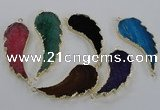 NGC324 18*40mm - 22*55mm wing-shaped agate gemstone connectors