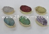 NGC476 20*30mm oval druzy agate gemstone connectors wholesale