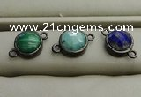 NGC5990 12mm coin mixed gemstone connectors wholesale