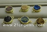 NGC6000 12mm coin plated druzy agate connectors wholesale