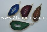 NGP1118 30*45 - 40*60mm freeform druzy agate pendants with brass setting