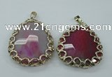 NGP1162 50*55mm - 52*60mm freeform agate pendants with brass setting