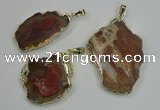 NGP1283 25*40mm – 40*55mm freeform agate pendants with brass setting