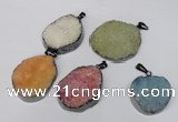 NGP1523 30*35mm - 30*40mm freeform plated druzy agate pendants