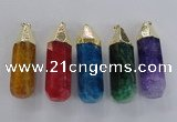 NGP1739 17*60mm faceted nuggets agate gemstone pendants wholesale