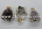 NGP1992 35*40mm - 40*45mm freeform druzy amethyst pendants