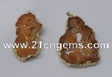 NGP2323 35*45mm - 45*55mm freeform plated druzy agate pendants
