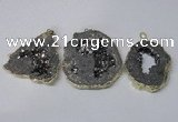 NGP2324 35*45mm - 45*55mm freeform plated druzy agate pendants