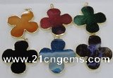 NGP2546 53*53mm - 56*56mm flower agate gemstone pendants