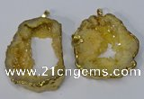 NGP3136 25*35mm - 40*50mm freeform plated druzy agate pendants